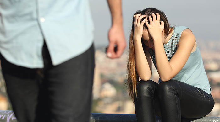 Girl upset after getting dumped by her boyfriend
