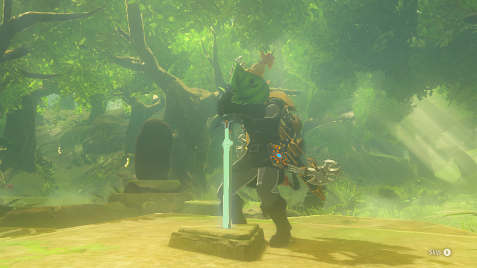 The Legend of Zelda: Breath of the Wild - The Master Trials DLC placing sword in pedastal