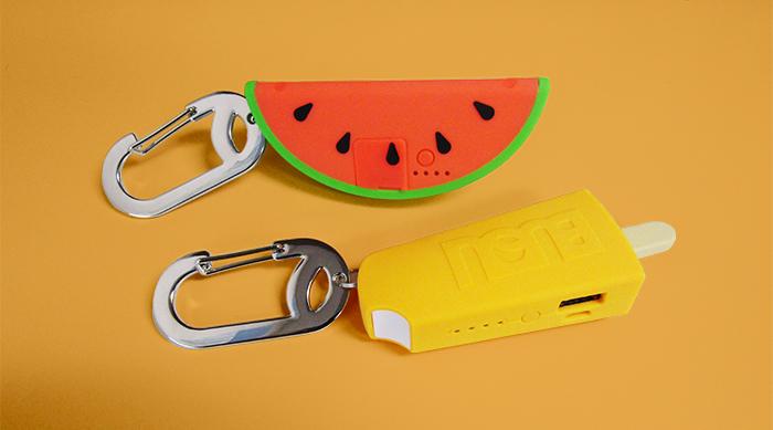 Buqu phone power banks: watermelon and creamsicle