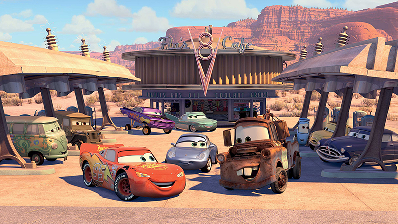 Lightning McQueen meeting the cars in Radiator Springs in Disney Pixar's Cars