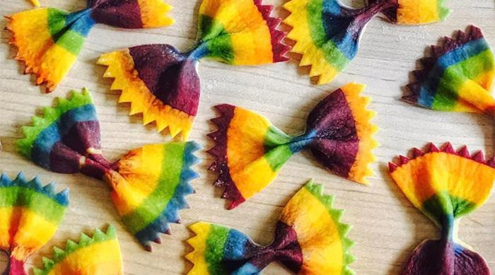 Rainbow bow tie pasta