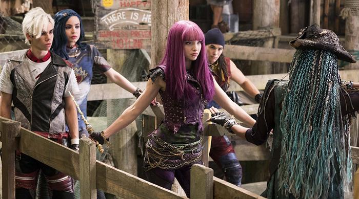 The cast of Disney Channel's Descendants 2 preparing for a fight scene