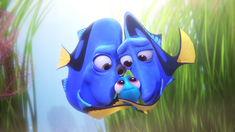 Young Dory being hugged by her parents in Disney Pixar's Finding Dory
