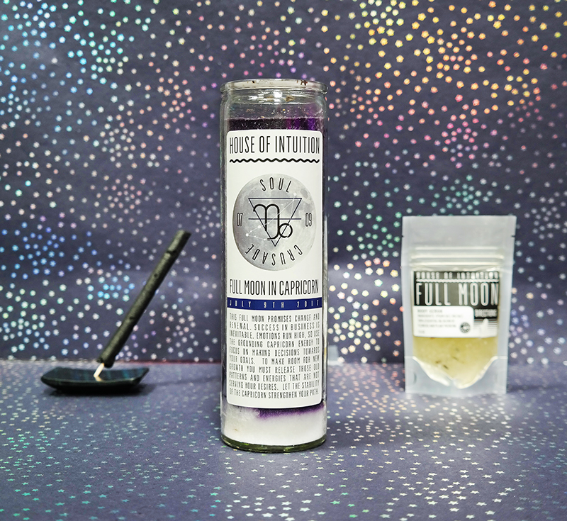 House of Intuition's Full Moon candle and body scrub