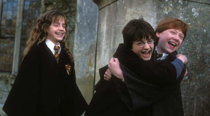 Ron, Harry and Hermione hugging and laughing in victory