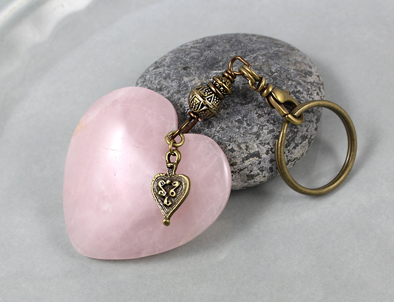 Heart-shaped Rose Quartz key chain from Etxy