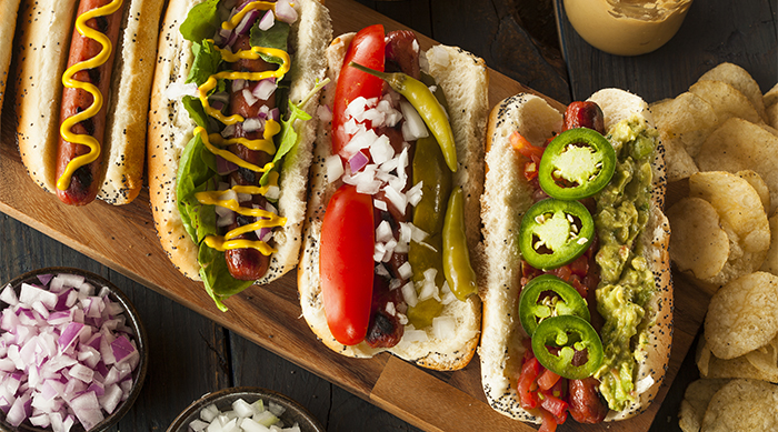 Hot Dogs with lots of toppings