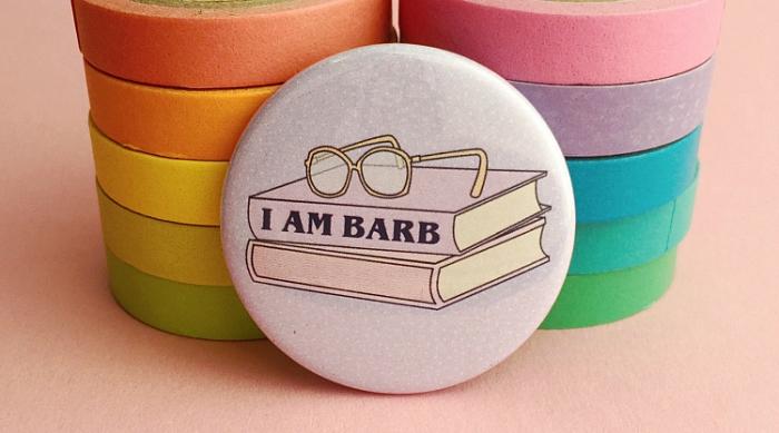 I Am Barb cute button