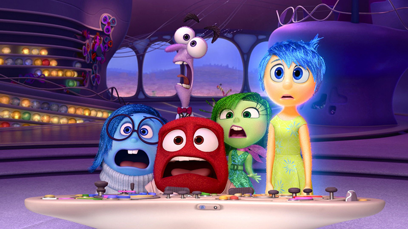 The emotions in Disney Pixar's Inside Out looking scared