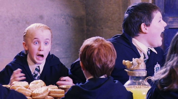 Malfoy screaming in the Great Hall