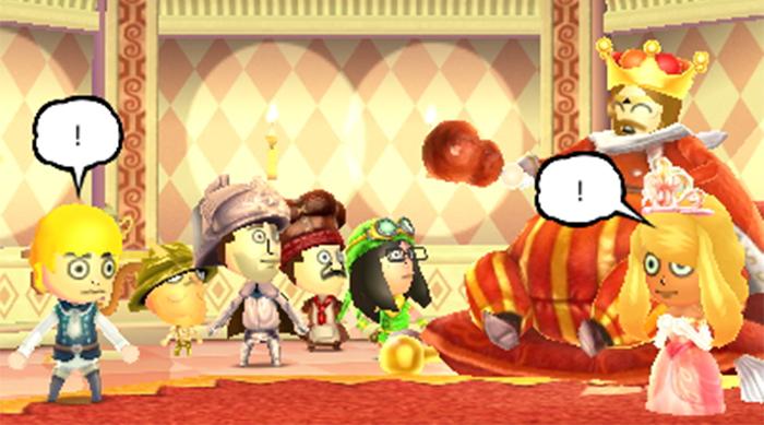 Miitopia: The king surprises party with news