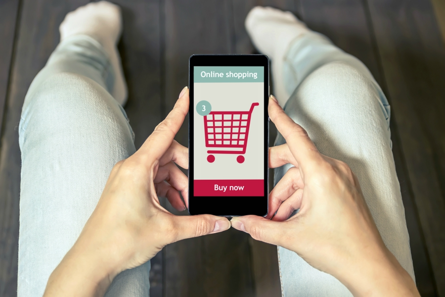 Items in online shopping cart on cell phone