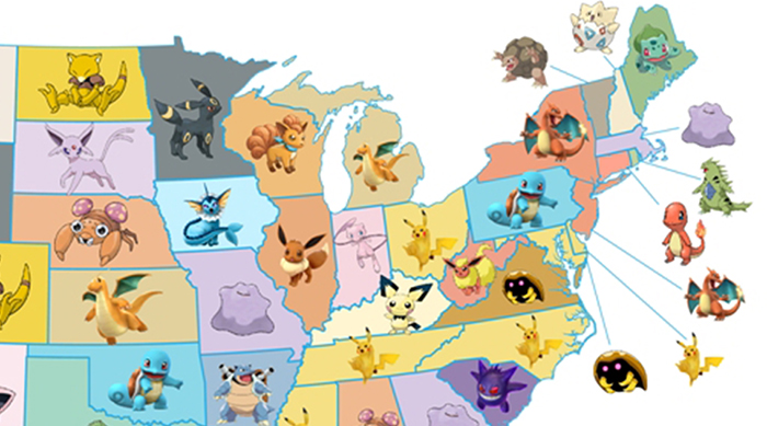 Map of most popular Pokémon in every U.S. state
