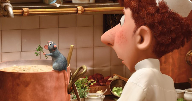 Remy getting caught by Linguini in the kitchen in Disney Pixar's Ratatouille