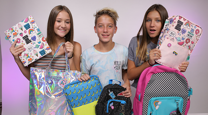 Riley, Dakota and Madison Lewis With Yoobi School Supplies
