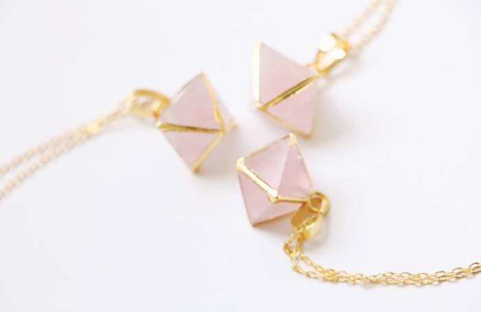 Rose Quartz necklace from Etsy