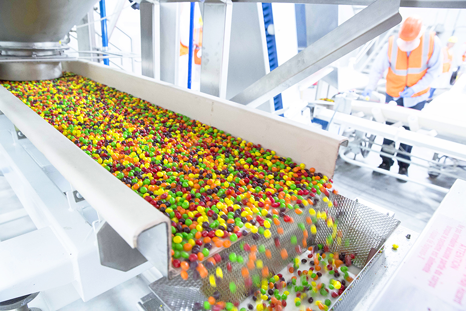 Skittles rolling off the line at Wrigley factory