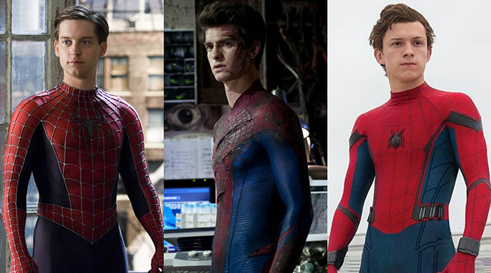 Side-by-side images of Tobey Maguire, Andrew Garfield and Tom Holland playing Spider-Man