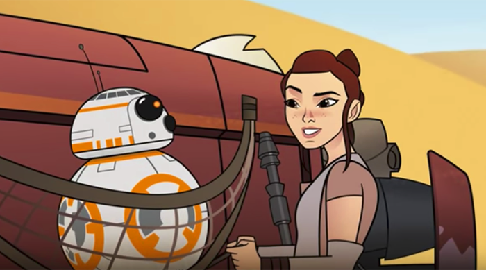 Star Wars Forces of Destiny Rey and BB-8 on Jakku