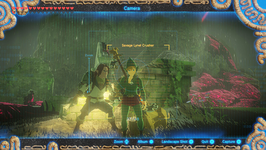 The Legend of Zelda: Breath of the Wild - The Master Trials DLC Tingle outfit selfie with scared person