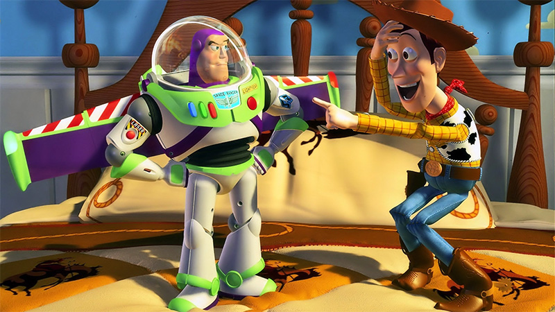 Woody playing with Buzz's buttons in Disney Pixar's Toy Story