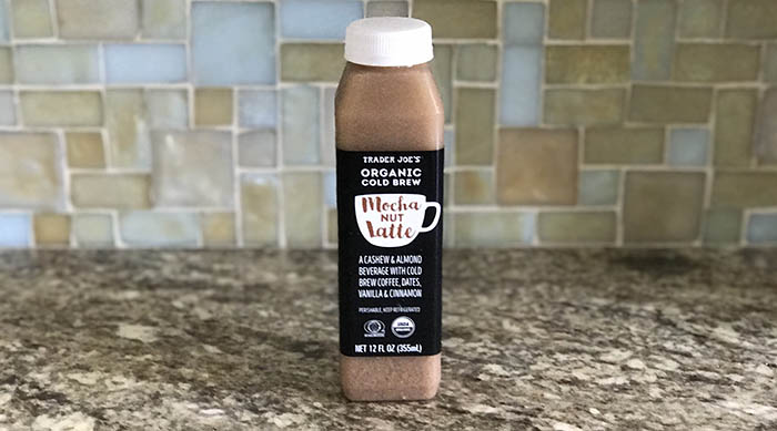 Trader Joe's new Mocha Nut Latte on a marble countertop in a kitchen