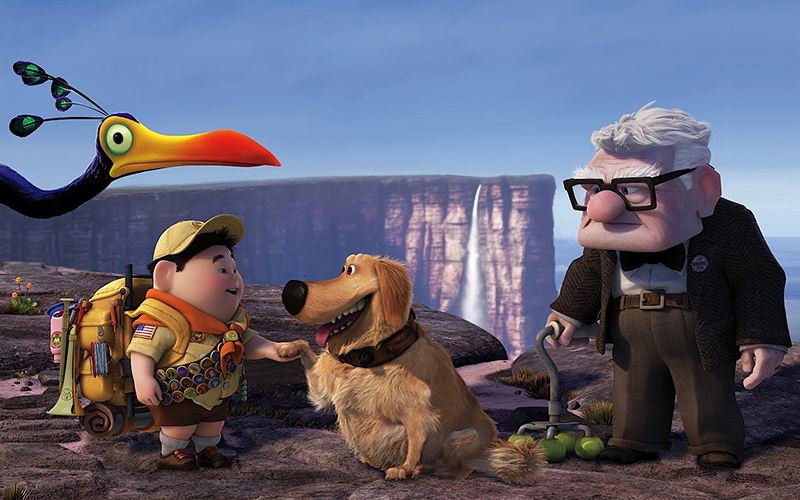 Carl, Dug, Kevin and Russel in Disney Pixar's Up
