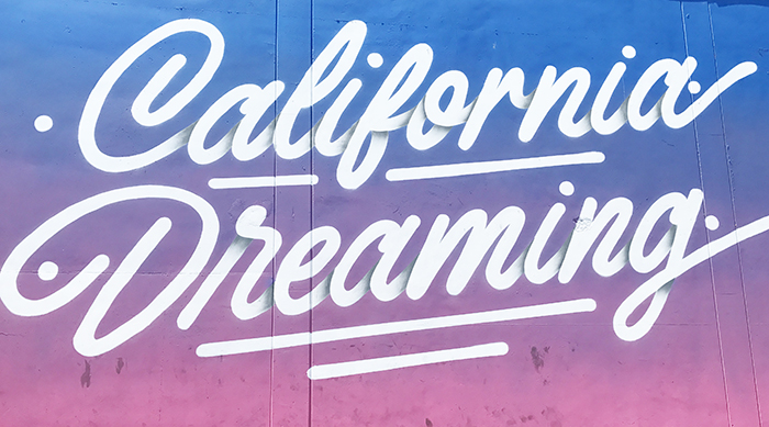 California Dreaming mural next to Chinese Laundry Headquarters and See's Candy Headquarters on La Cienega Blvd. in Los Angeles, California