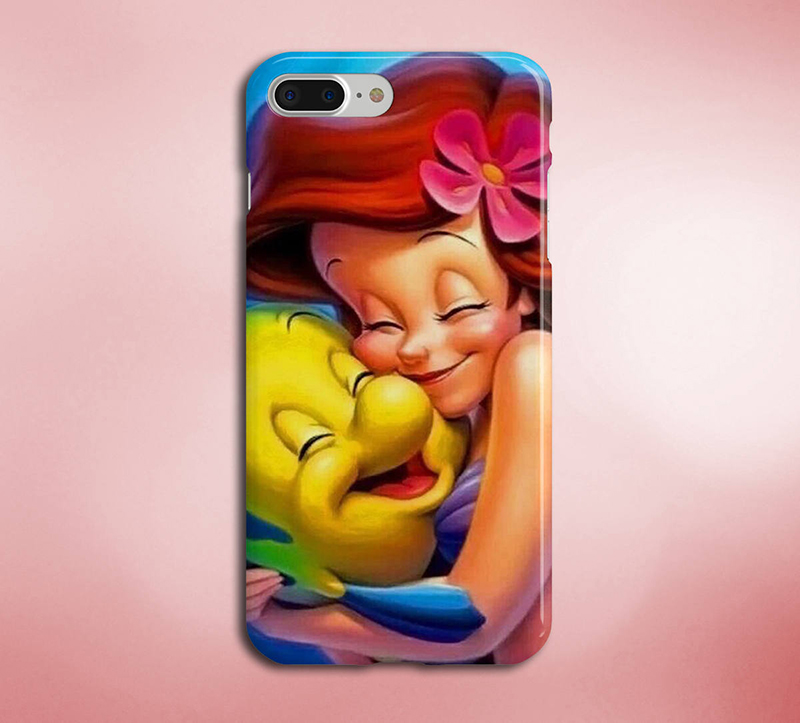 Ariel and Flounder hugging on a phone case