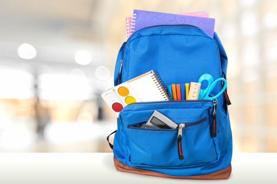 Backpack filled with school supplies
