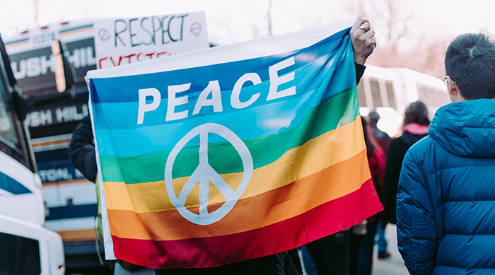 "Rainbow flag with the ""Peace"" and the peace symbol on it"