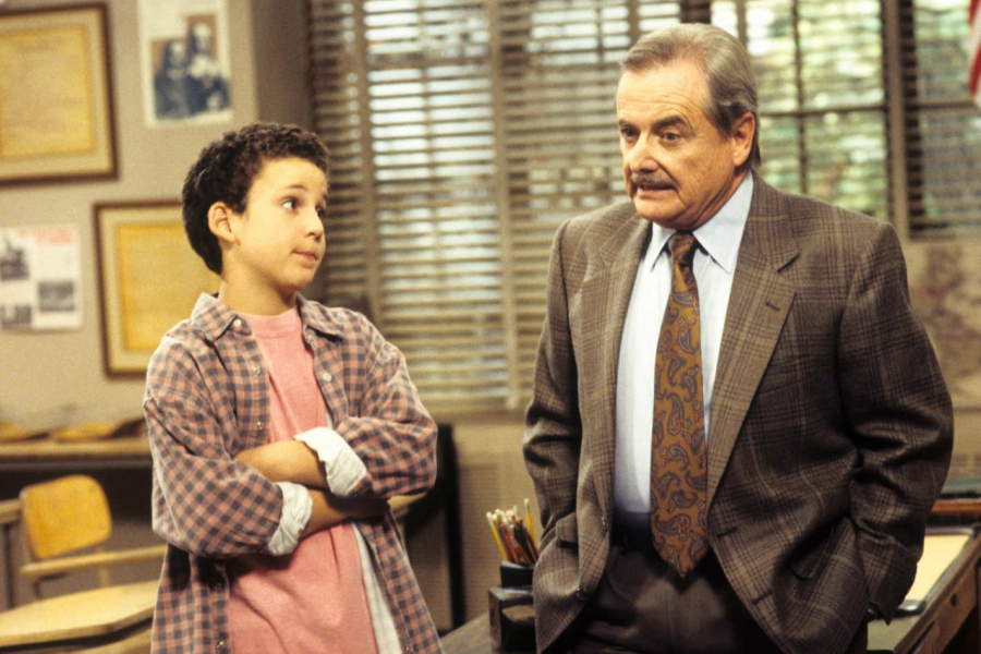 Boy Meets World still of Cory talking with Mr. Feeny