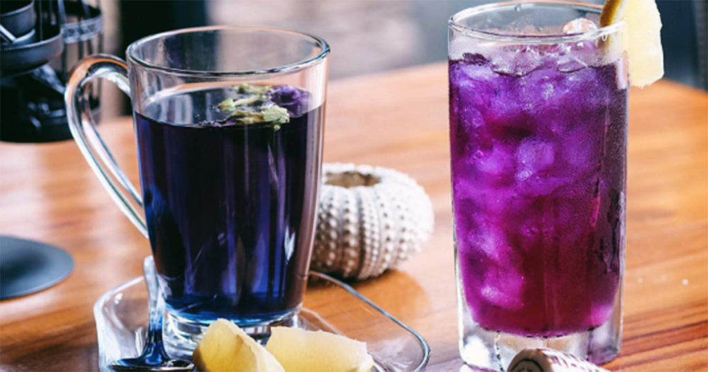 How Butterfly Pea Flower Tea Changes Color With Lemon