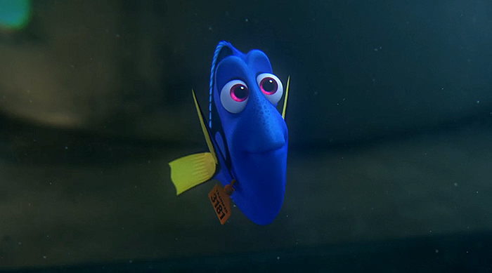 Dory with a tag on her in Finding Dory