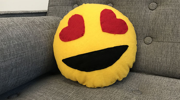 Completed emoji pillow
