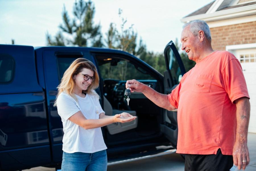 Girl receiving car as a gift