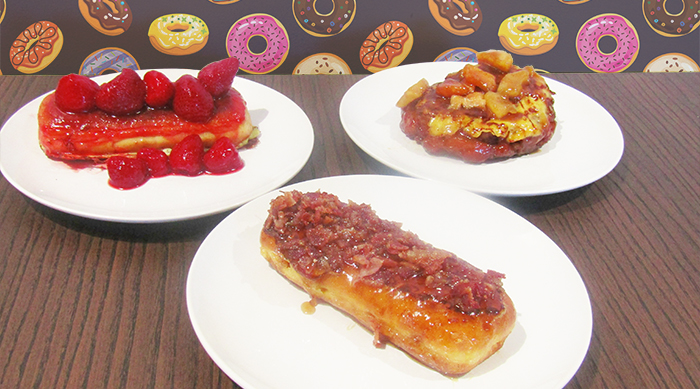 IHOP french-toasted donuts: strawberries & cream, bacon & maple and apple fritter
