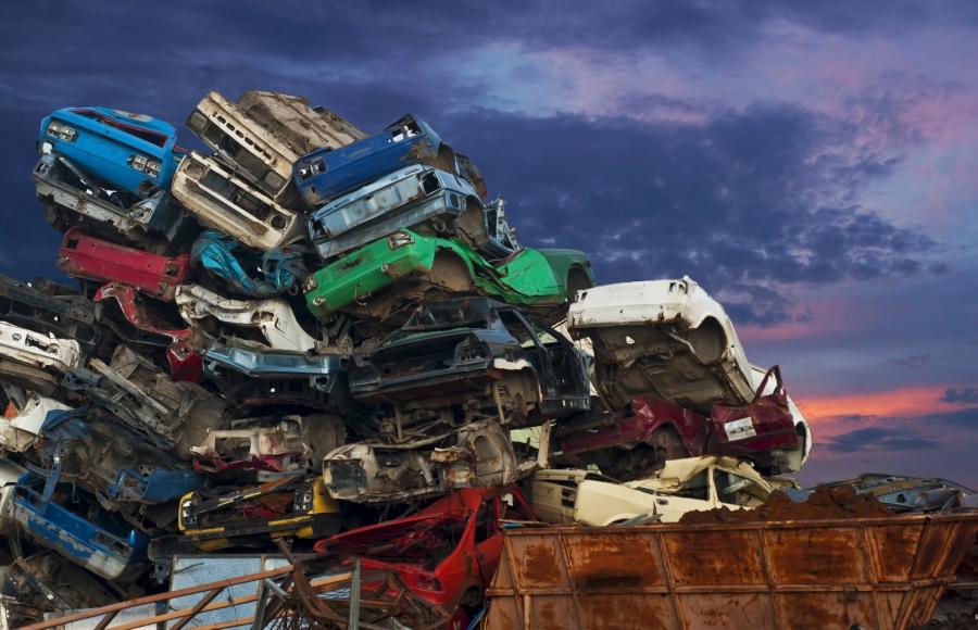 Car pile at the junk yard
