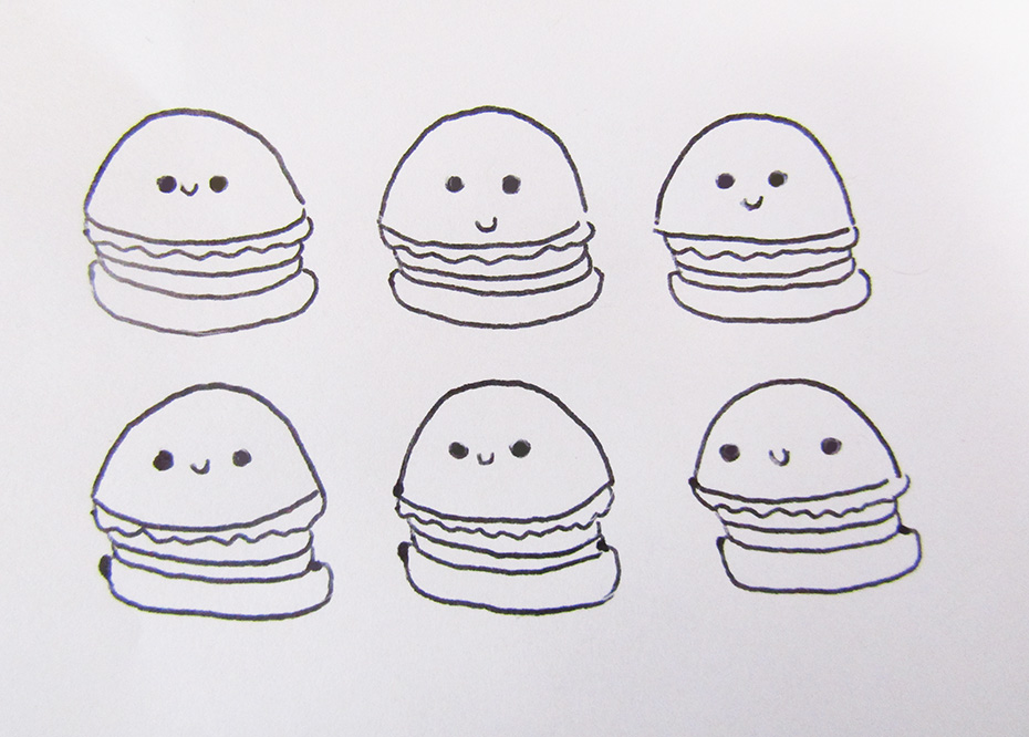Kawaii Doodle Class burgers with spacing