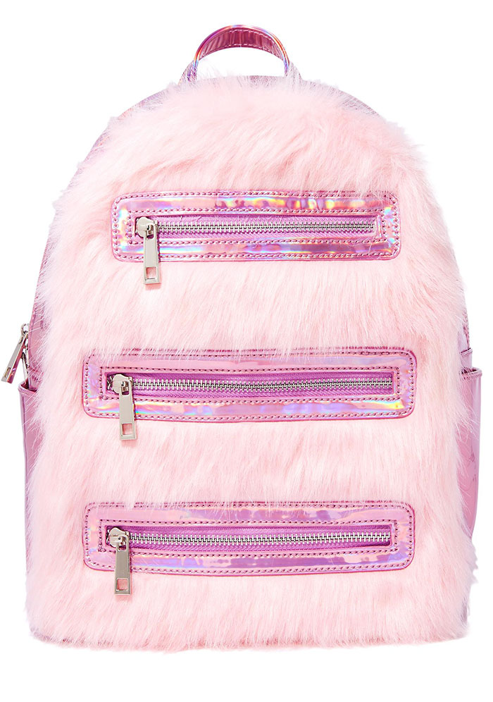 Pink faux fur backpack from Dolls Kill