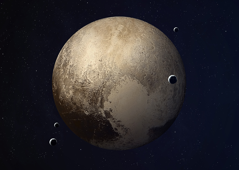 Pluto with its moons in space
