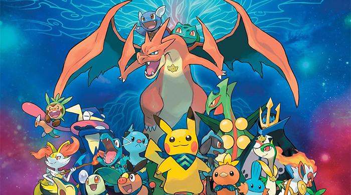Pokémon image with mega charizard and pikachu
