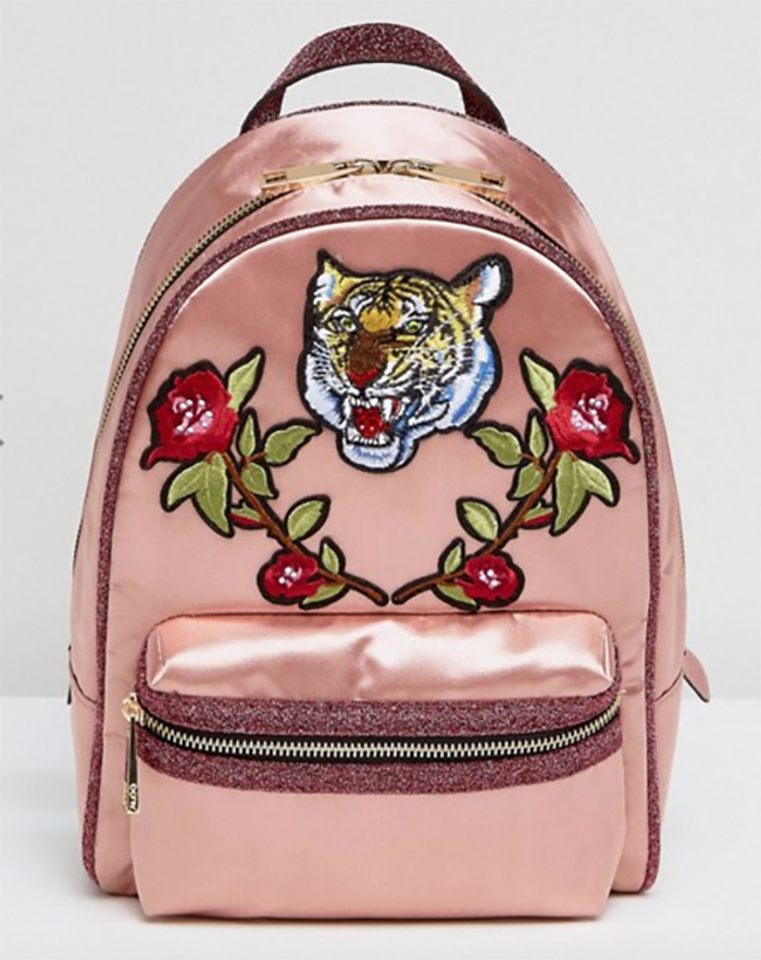Satin backpack with tiger and roses patches from ASOS
