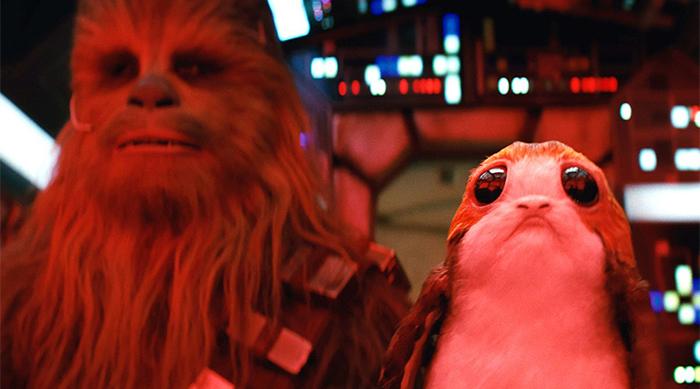 Star Wars: The Last Jedi: Chewbacca next to a porg