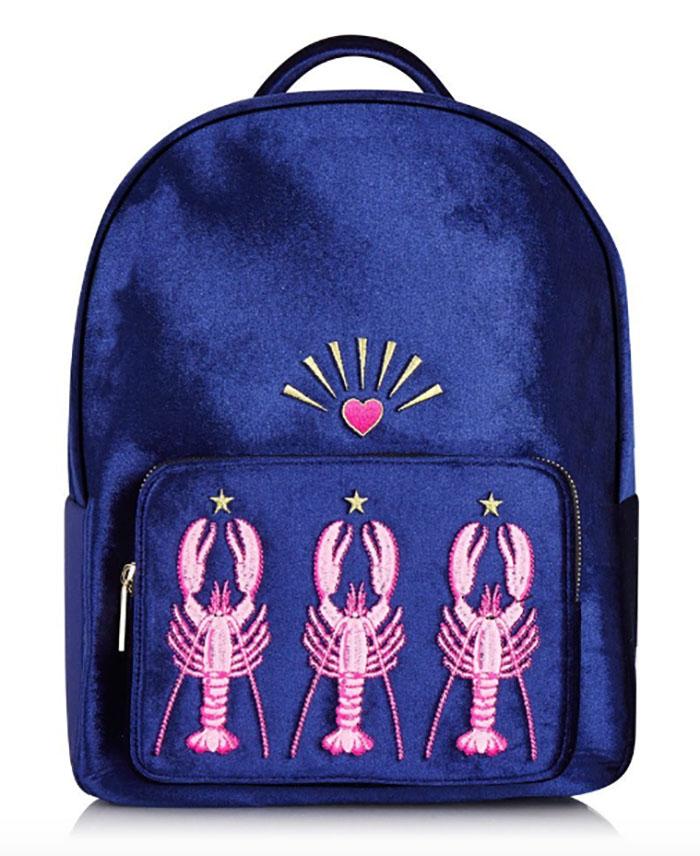 Velvet pink lobster backpack from Skinny Dip London