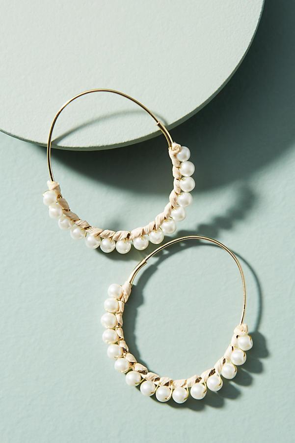 anthropology pearl hoop earrings