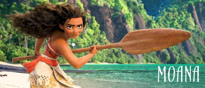 Moana with paddle