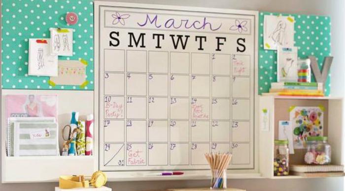 march calendar over desk