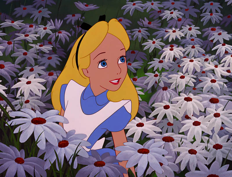 Alice sitting in a field of daisies in Disney's 1951 animated feature Alice in Wonderland
