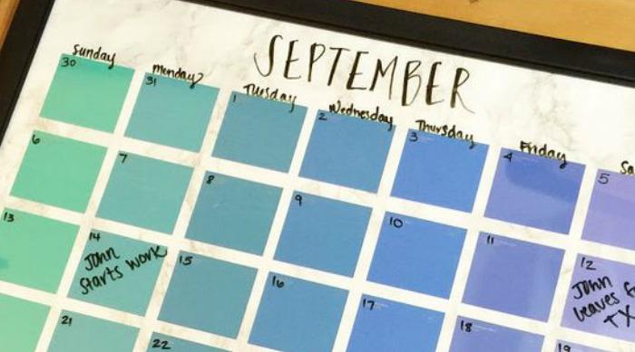 paint chip september calendar